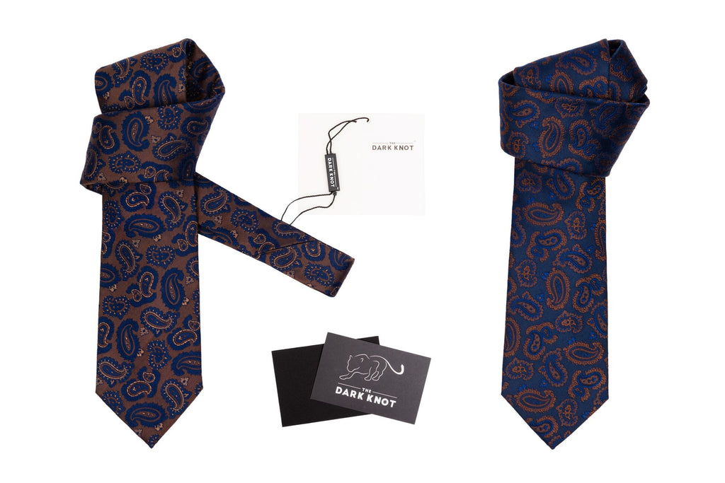 Blue & Brown Paisley Silk Ties