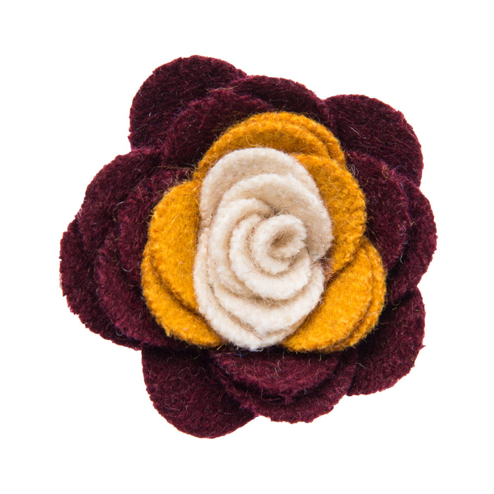 Burgundy yellow and white lapel flower