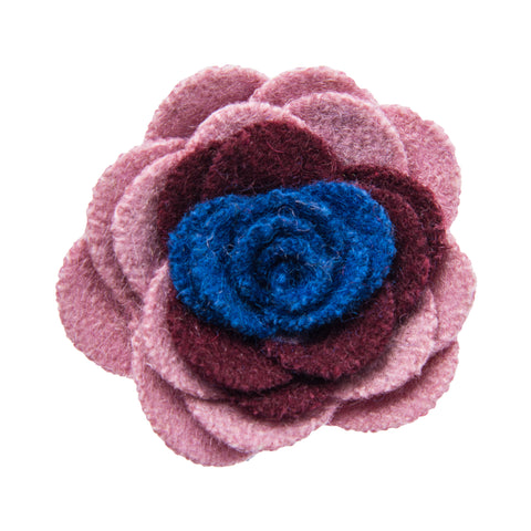 Pink burgundy and blue lapel flower