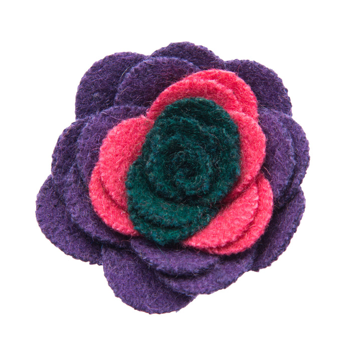 Pink purple and green lapel flower
