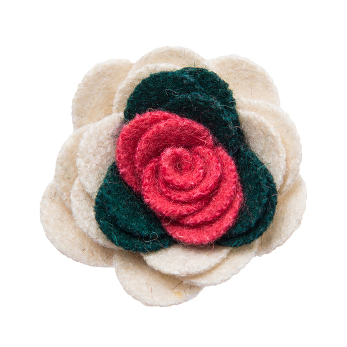 White green and pink lapel flower