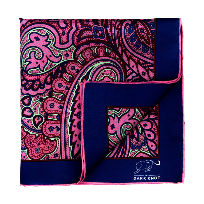 Pink & Light Green Paisley Silk Pocket Square