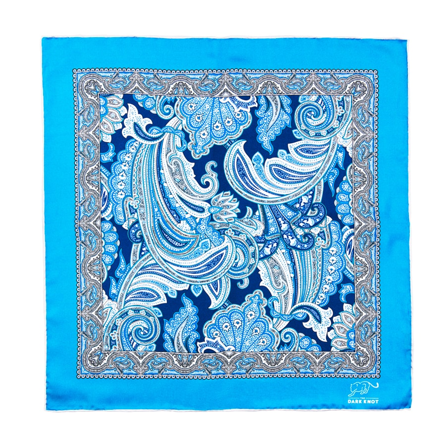 Blue Paisley Pocket Square with Grey Hand Rolled Contrasting Edges