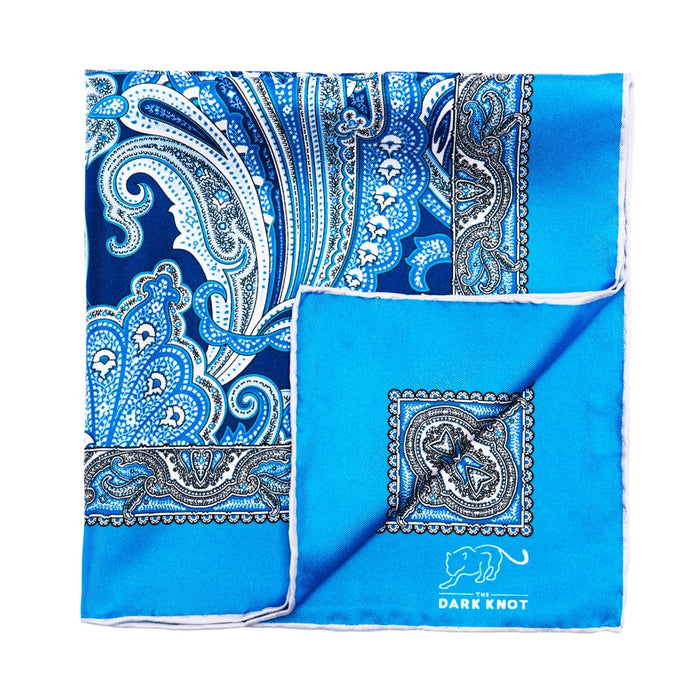 Blue Paisley Silk Pocket Square