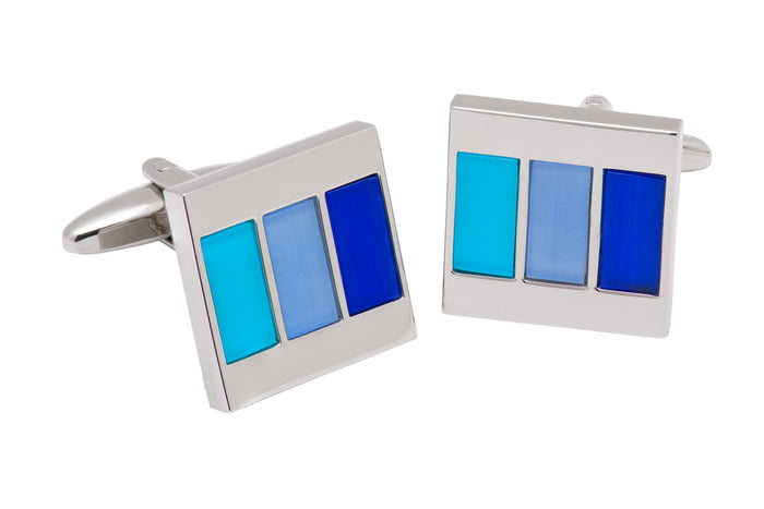 Blue Enamel Tiled Cufflinks