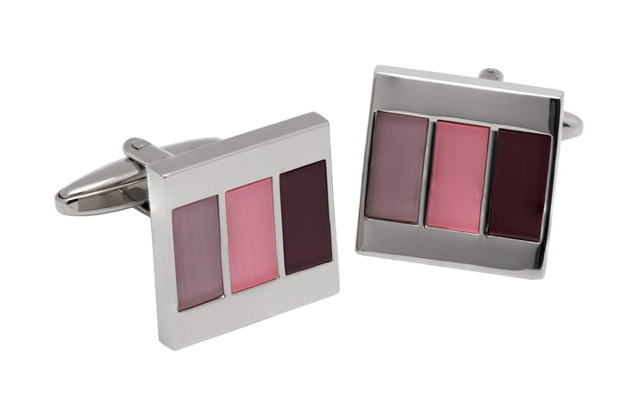 Burgundy & Pink Tiled Cufflinks