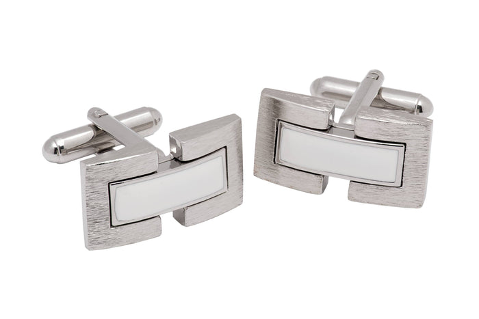 Silver w/ white rhodium plated cufflinks