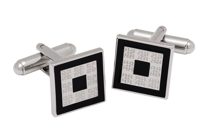 Black Enamel Cufflink Rhodium Plated Brass Base