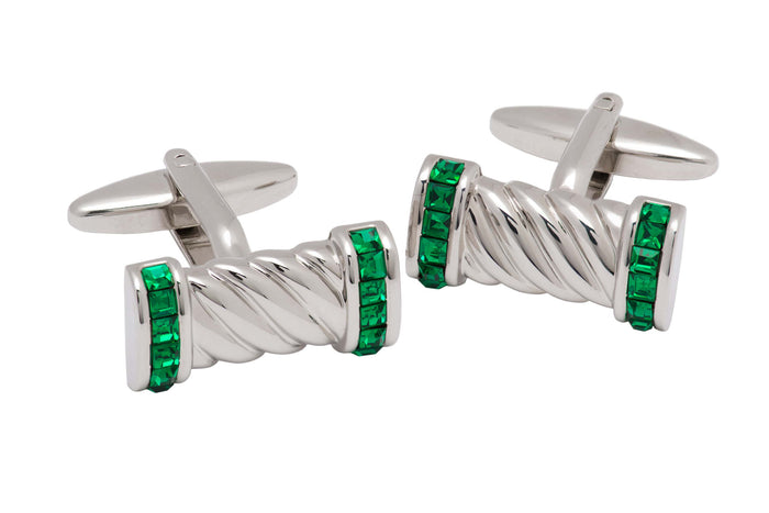 Emerald Green w / Silver Cufflinks