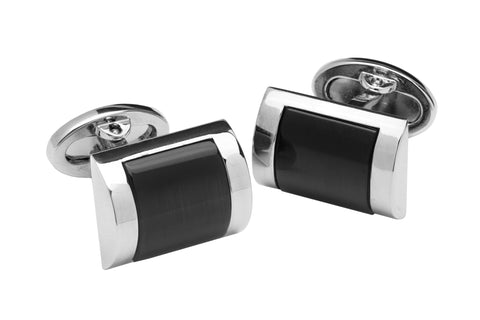 Onyx Rhodium Plated Whaleback Cufflinks