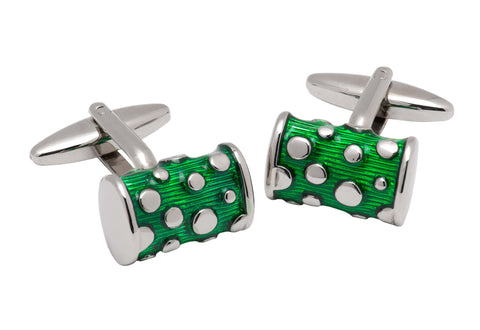 Medford Green and Silver Rhodium Plated Cufflinks