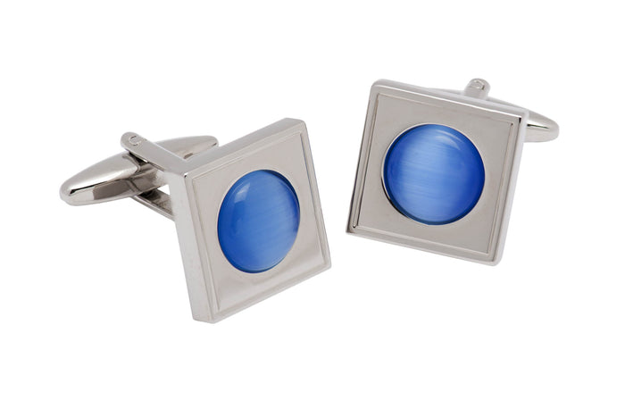 Blue Topaz Rhodium Plated Cufflinks
