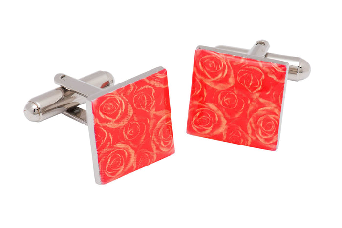 Red Floral Enamel Cufflinks