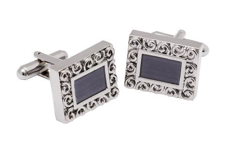 Lincoln Grey and Silver Rhodium Plated Brass Cufflinks