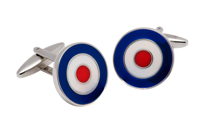 Blue, White & Red Enamel Plated Cufflinks