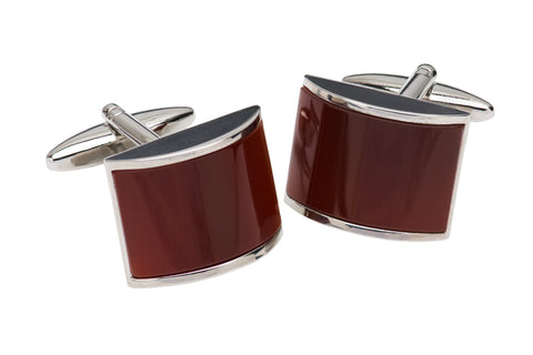 Carnelia Burgundy Rhodium Plated Cufflinks