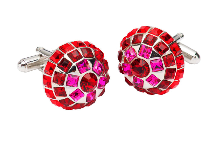 Red Ruby Cufflinks with Rhodium Plating