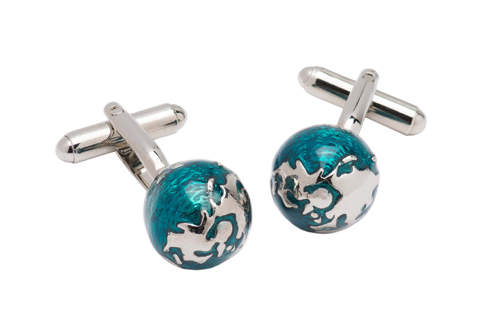 Turquoise w / Silver Sphere Cufflinks