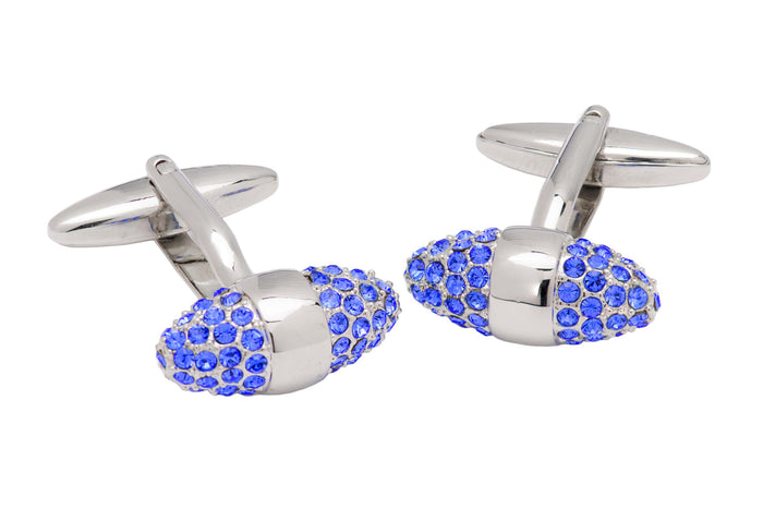 Blue Swarovski rhodium plated cufflinks