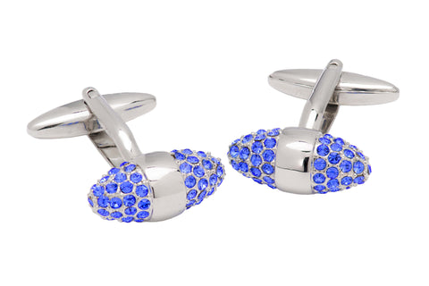 Carroll Blue Swarovski Rhodium Plated Cufflinks