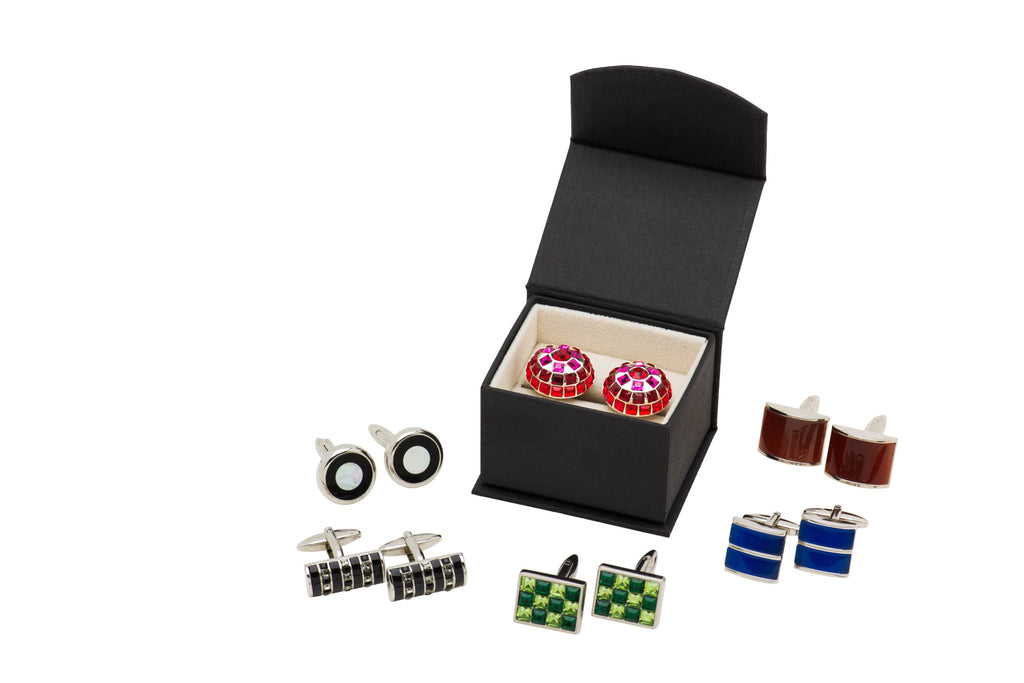 Rhodium Plated Cufflinks with packaging
