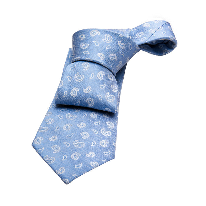 Light Blue Paisley Silk Tie