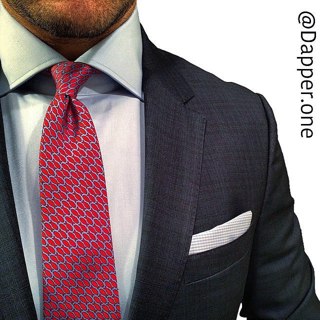 Blue with red fish printed silk tie