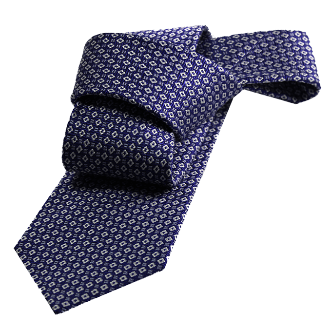 Darien Novelty Squares Silk Tie, Blue / Light Blue / Silver