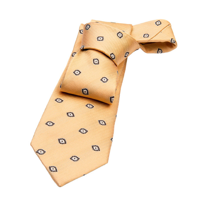 Yellow & Grey Abstract Silk Tie