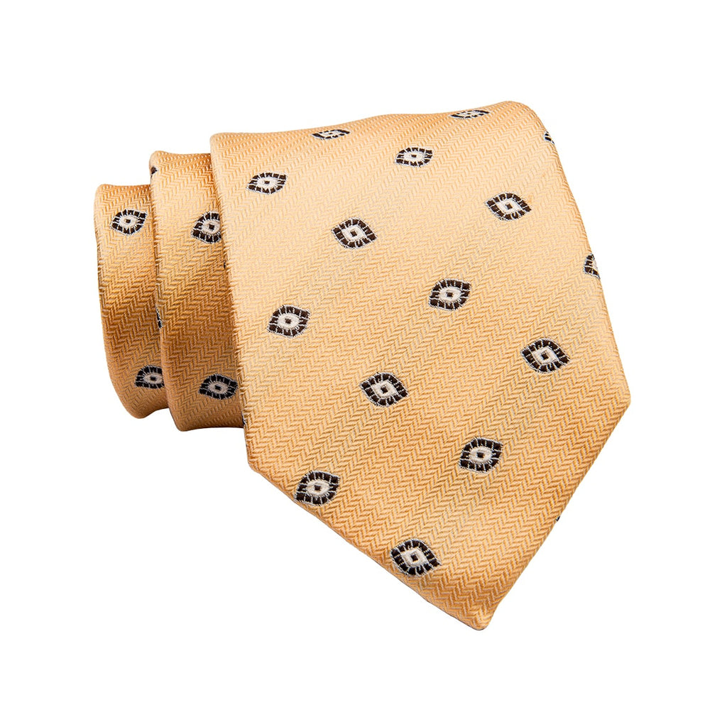 Yellow & Grey Geometric Silk Tie