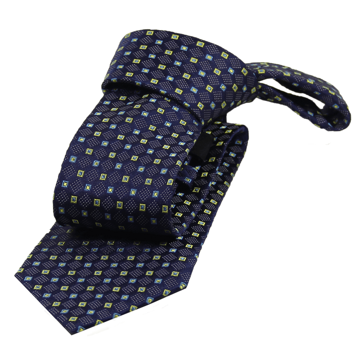 Blue & Yellow Abstract Silk Tie
