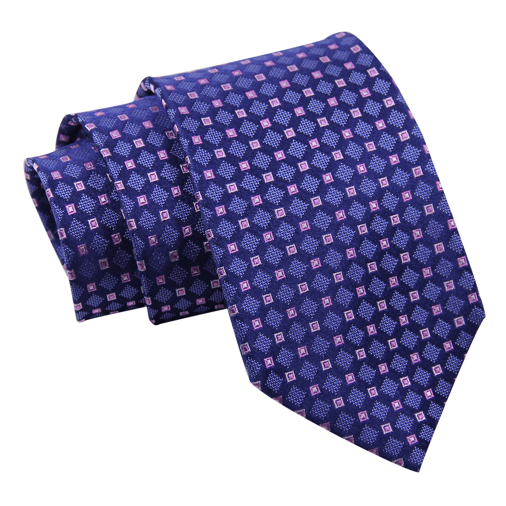 Blue and Pink Foulard Silk Tie