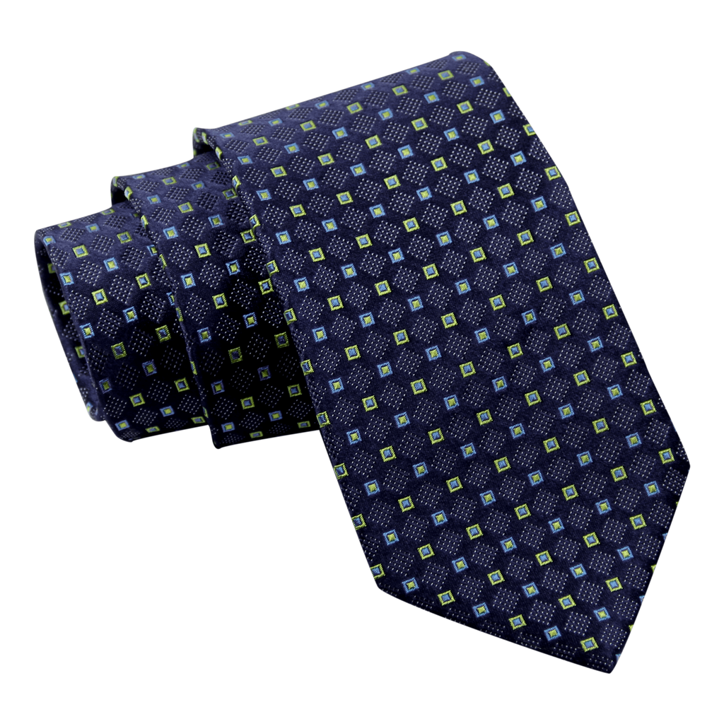 Blue & Yellow Foulard silk Tie