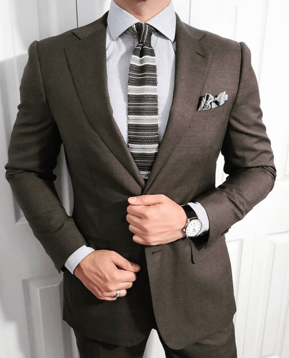 Grey, White & Light Grey Silk Knit Tie