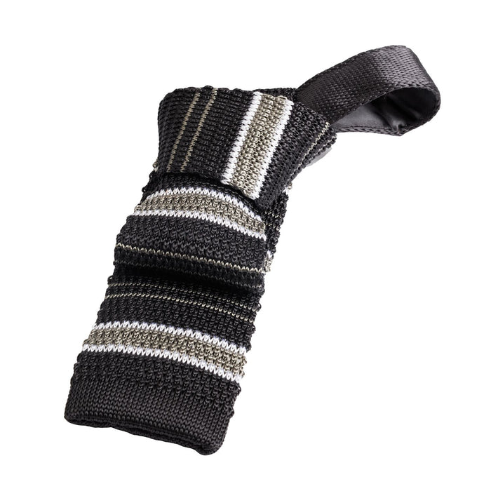 Grey Striped Knitted Silk Tie