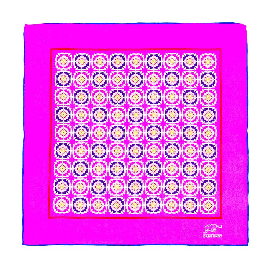 Pink & Purple Foulard Silk Pocket Square