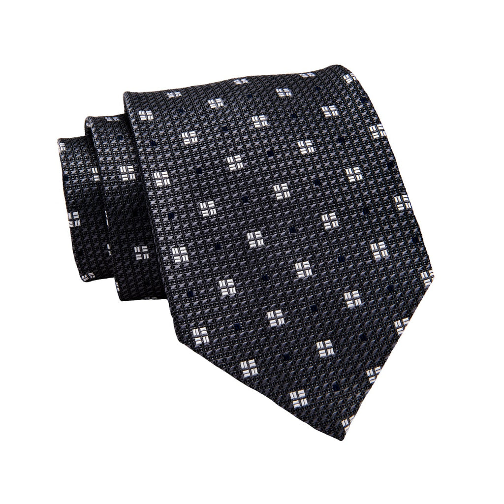 Grey & Silver Abstract Silk Tie