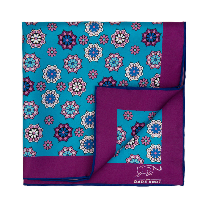 Blue, Purple & Pink Foulard Silk Pocket Square
