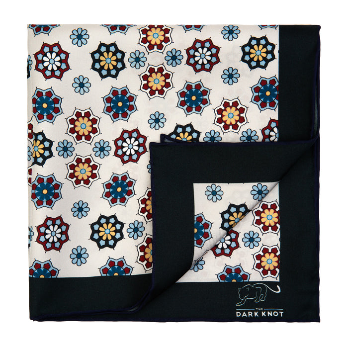 White, Burgundy & Blue Foulard Silk Pocket Square