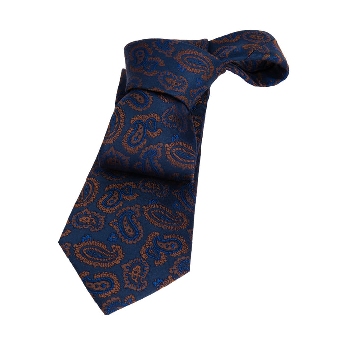 Blue & Brown Paisley Silk Tie