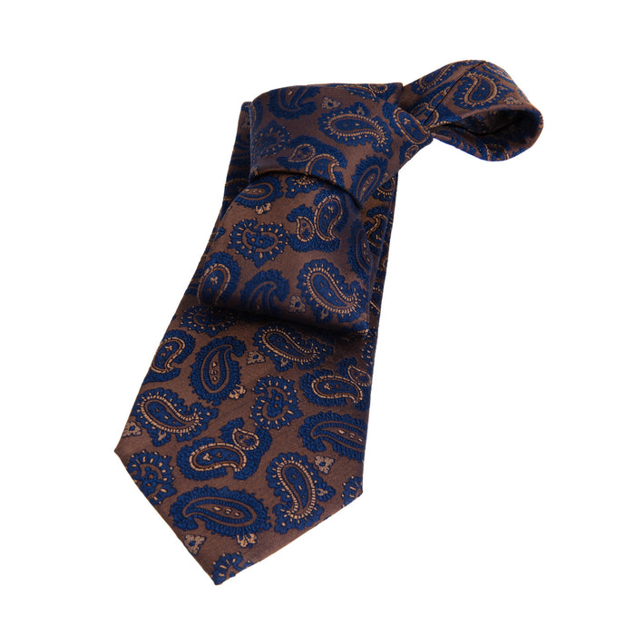 Brown & Blue Paisley Silk Tie