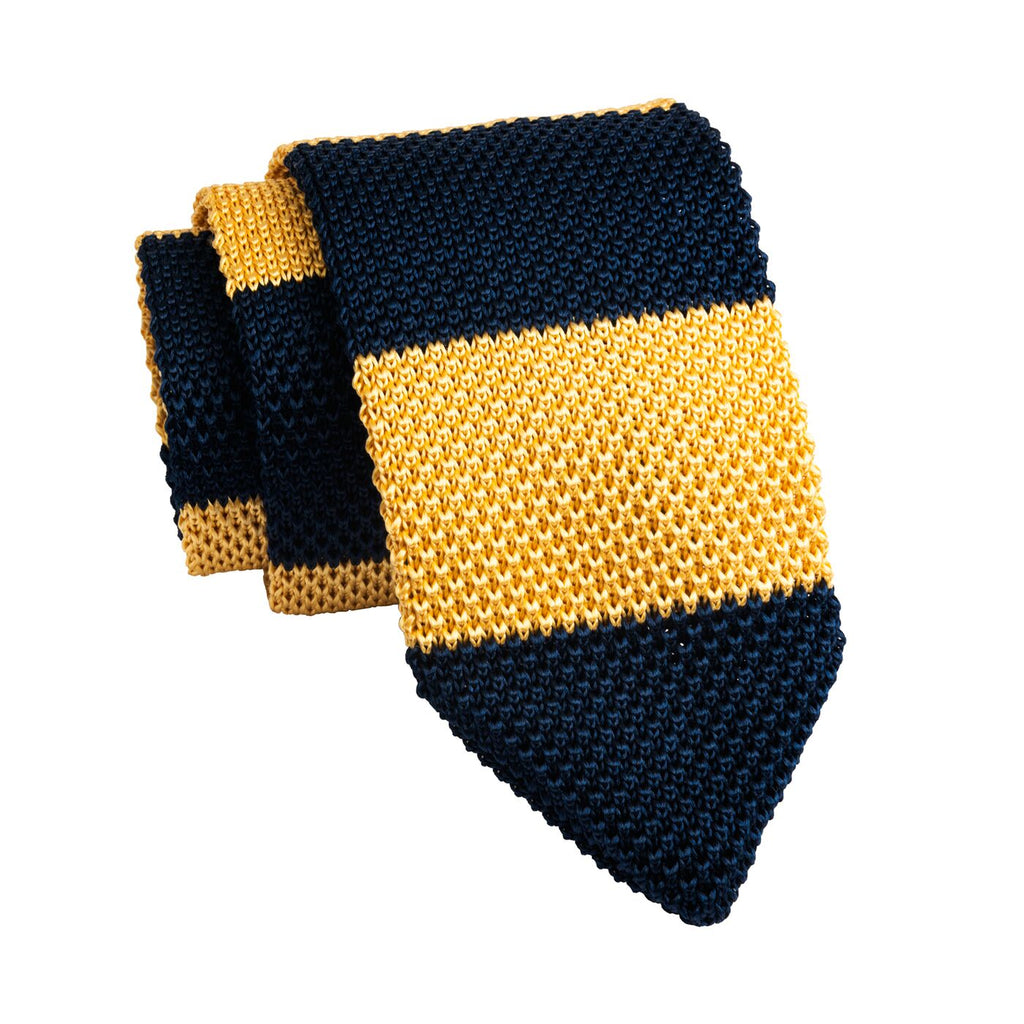 Navy & Yellow Striped Knitted Silk Tie