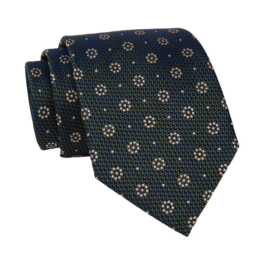 Gold & Green Foulard Silk Tie