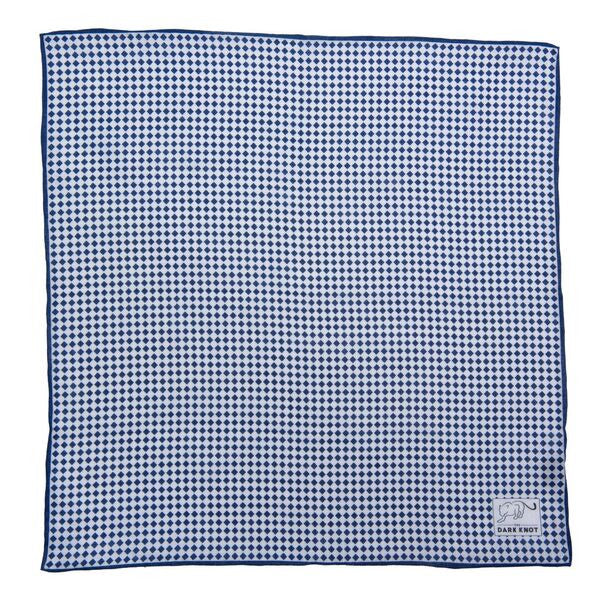 Blue Checkered Linen Pocket Square
