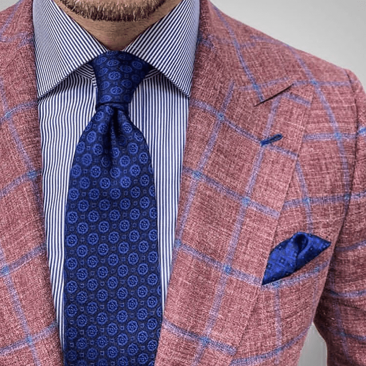 Navy Foulard Silk Tie & Brown Plaid Sports Jacket