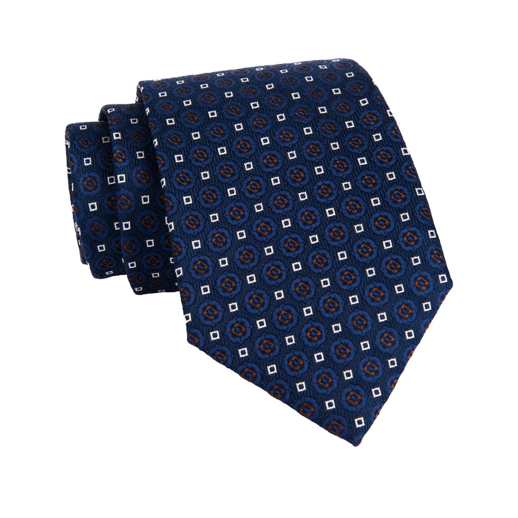 Navy & Brown Foulard Silk Tie