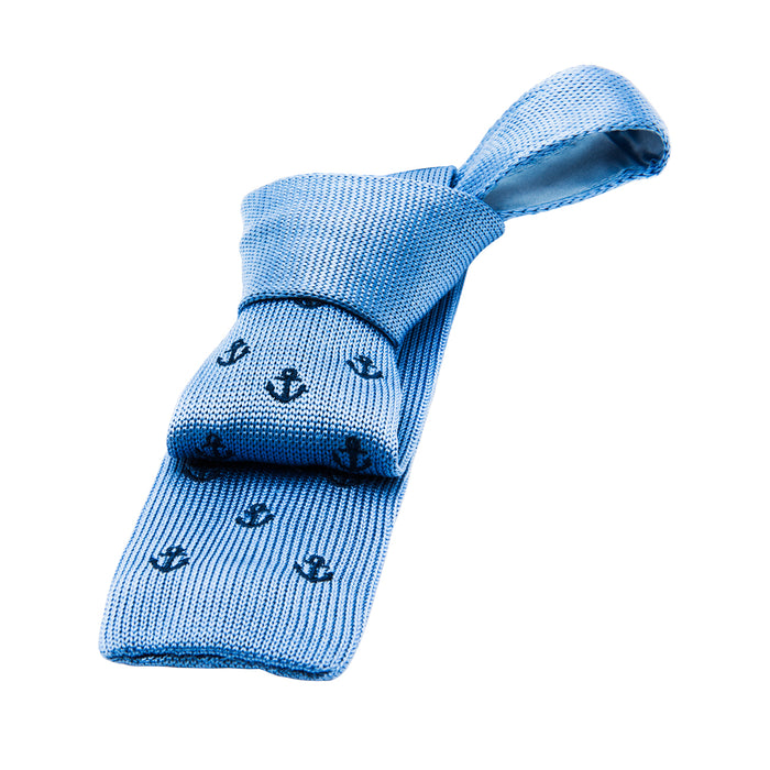Blue Knitted Tie with Anchor Pattern