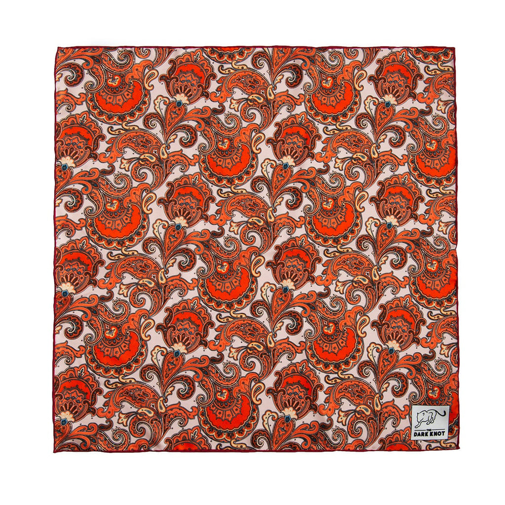 Orange & Cream Paisley Silk Pocket Square