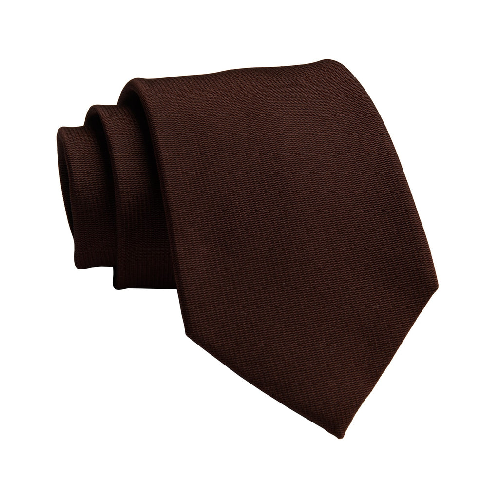 Solid Brown Silk Tie