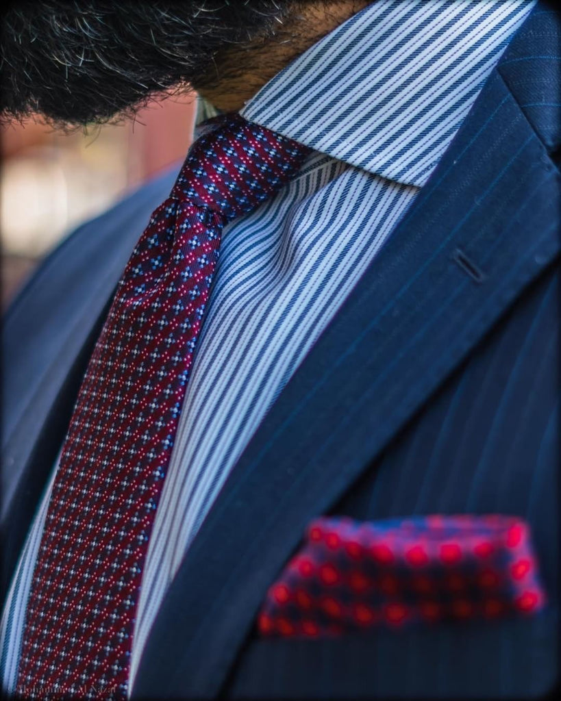 Geometric Burgundy Silk Tie
